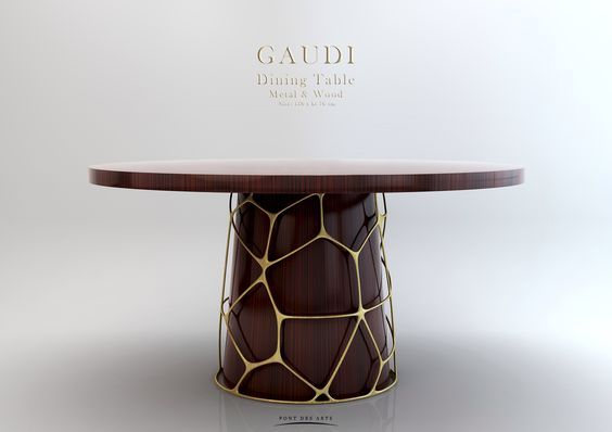 Gaudi Dining table - Wood And Bronze - Pont des Arts - Monzer Hammoud: