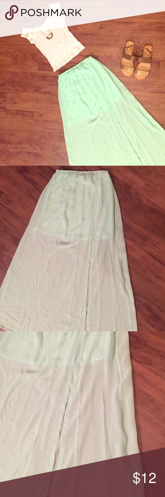 Mint Maxi Skirt Size S. Excellent condition. Worn once. Perfect with a cute crop top. One on the left side. **CHEAPER ON Ⓜ️** Lily White Skirts Maxi
