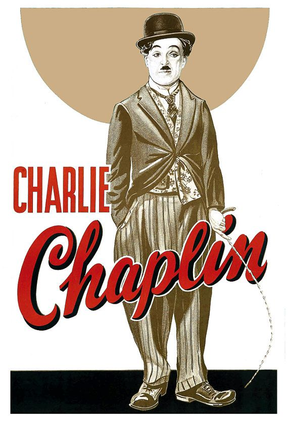 "Charlie Chaplin - Classic Comedy Movie Poster Print - 13""x19"" or 24""x36""…"