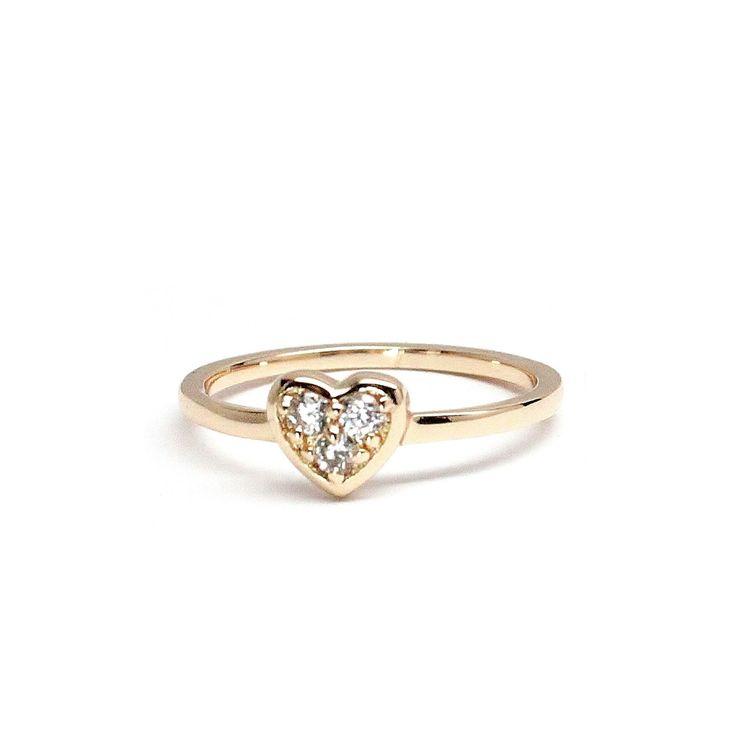 Three stone Gold Heart Ring