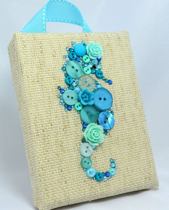 Button Art, Painted With Buttons Blue Seahorse - Button Art, Vintage Buttons by PaintedWithButtons, $45.00