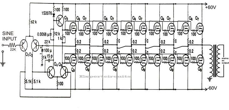 1kva  1000 Watts  Pure Sine Wave Inverter Circuit