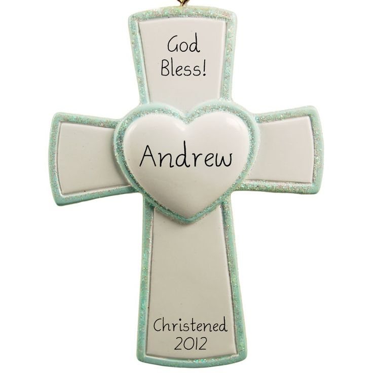 Blue Baby Boy Blessed Cross Christmas Ornament