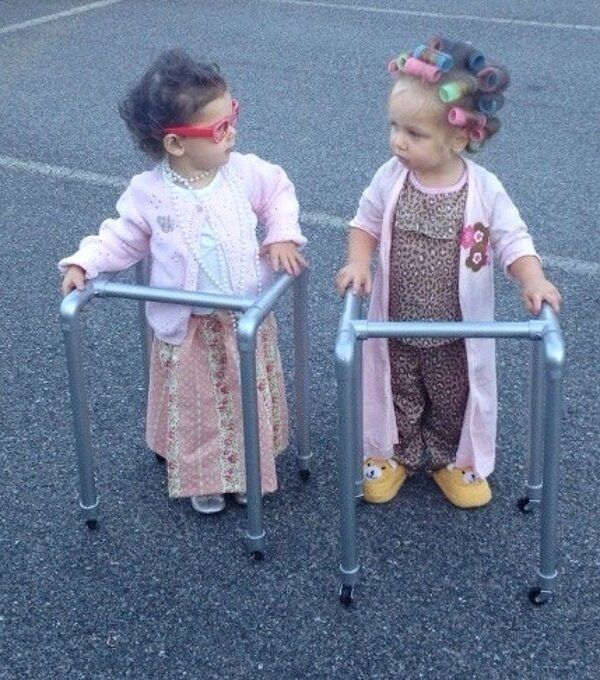 Little old ladies -- Halloween for the twins!
