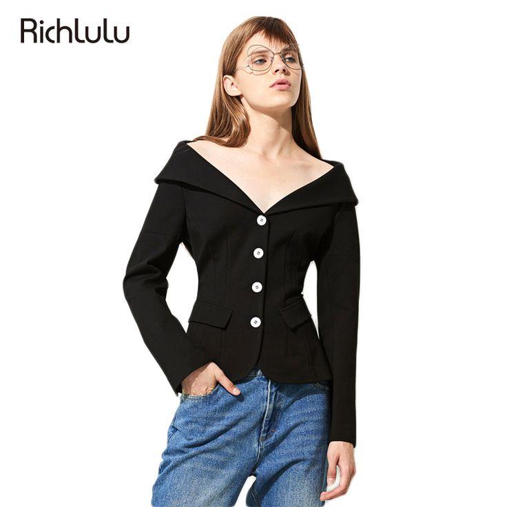 RichLuLu 2017 New Fashion Black Casual Ladies Blazer Women V neck Sexy Off Shoulder Slim Female Jacket Vintage Basic Blazer -in Blazers from Women's Clothing & Accessories on Aliexpress.com | Alibaba Group