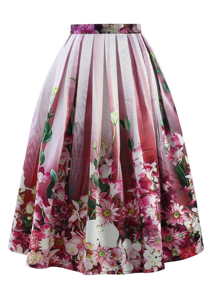 Hot Pink Floral Tulle Print Midi Skirt