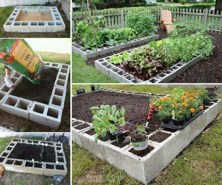 Breeze block raised garden