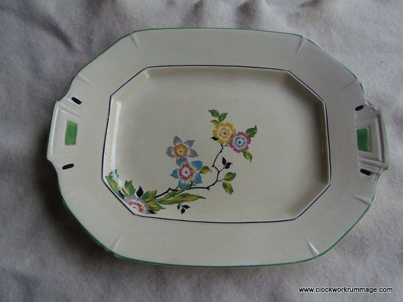 Porcelain serving platter, oblong tray, antique serving tray, English dinnerware by clockworkrummage. Explore more products on http://clockworkrummage.etsy.com