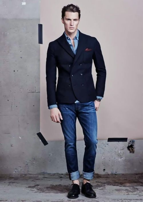 Double Breasted Navy Jacket With Contrasting Blue Shirt And Roll Up Jeans Mens Fashion Style