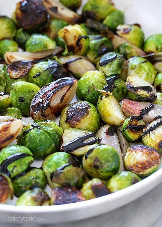Roasted brussels sprouts and shallots with balsamic glaze for Cuisine x studio brussel