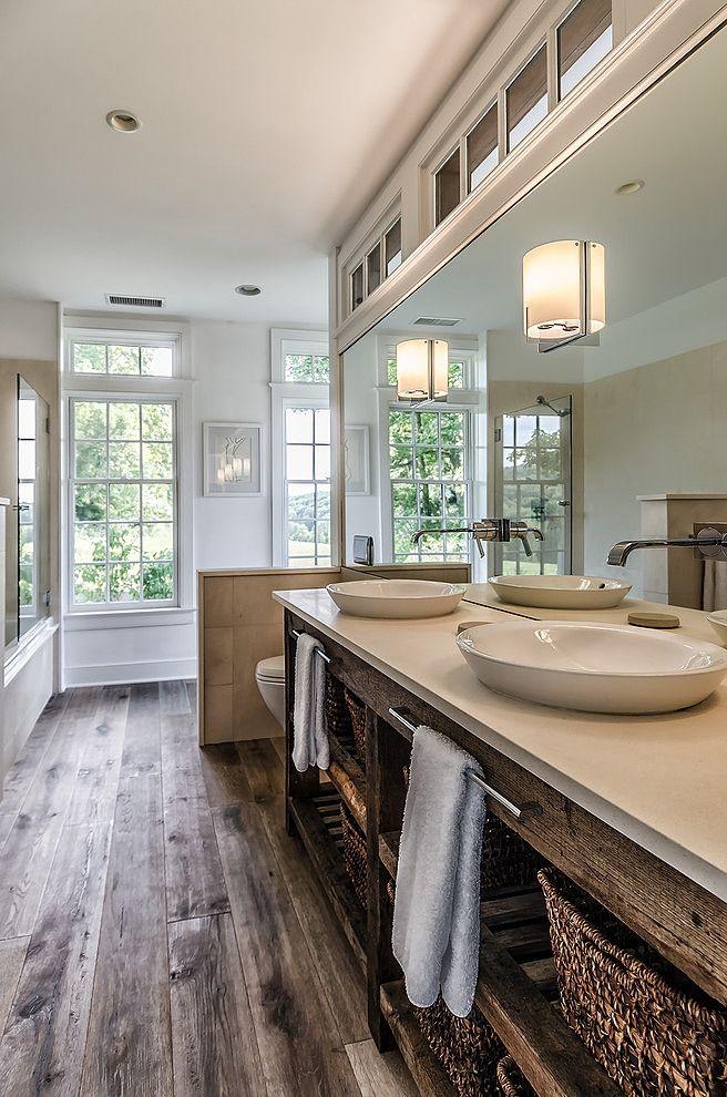 A neutral back drop on the walls (such as CIL Stone White 45YY 83/062) balances rustic wood accents in this serene bathroom. #CILserenity ------------------- Une toile de fond neutre, telle que la nuance Blanc roche (45YY 83/062) de CIL, est le canevas idéal pour mettre en valeur les accents de bois rustiques de cette salle de bain apaisante. #CILserenity