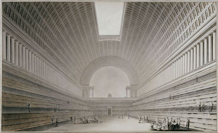 Etienne louis boul e 1728 1799 interior of a library for Paper for architectural drawings
