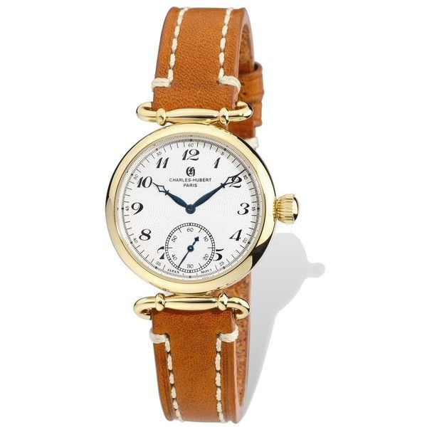 Ladies Charles Hubert IP-plated Stainless Leather Band 34mm Watch (13,090 INR) ❤ liked on Polyvore featuring jewelry, watches, charles hubert watches, charles hubert, leather band watches and leather wrist band watch