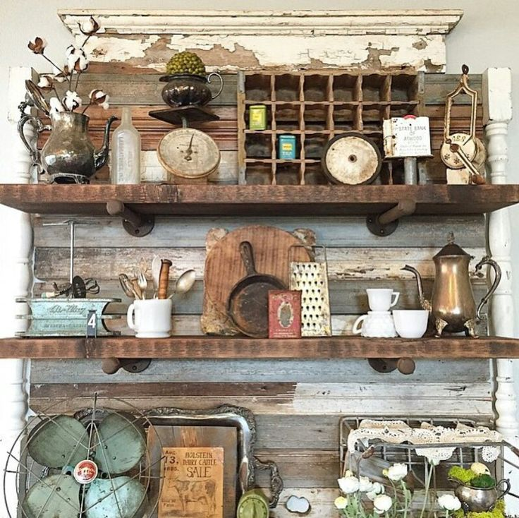 find this pin and more on flea market decorating by rockola idea for kitchen hutch area - Rustic Kitchen Decor Ideas