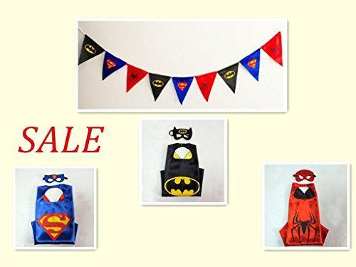 Children's Superhero Costumes( 3 Mask 3 Cape   1 flag banner)supermanandbatmanandspideman *** Read more  at the image link.