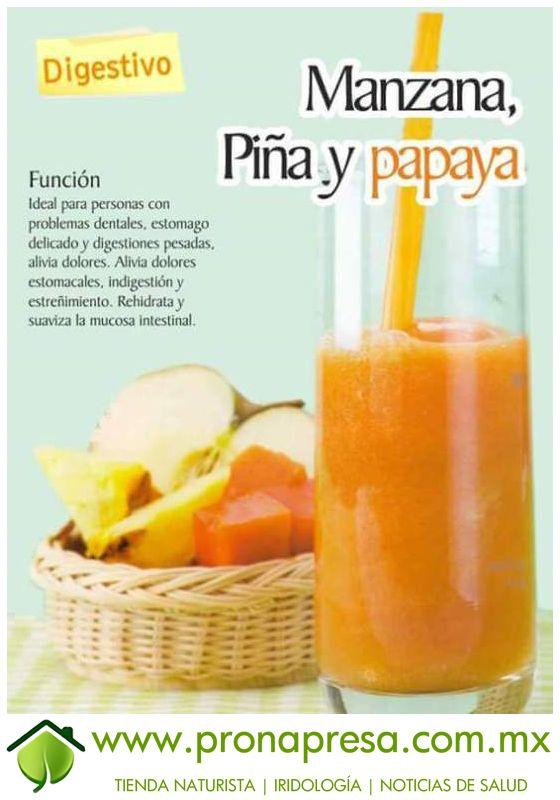 Jugo Natural de Manzana, Piña y Papaya: Digestivo. #ConsejosDeSalud #Digestión #TipsSaludables