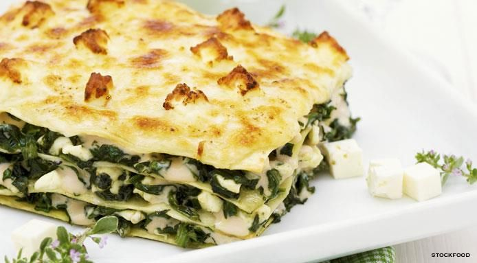 Spinach Lasagna with Feta Cheese