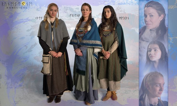 """RUNESTONE Vignettes: Fritha, wife to Styrkarr """"King of the Western Reach"""", with her maid Kata and her ward Maegin."""