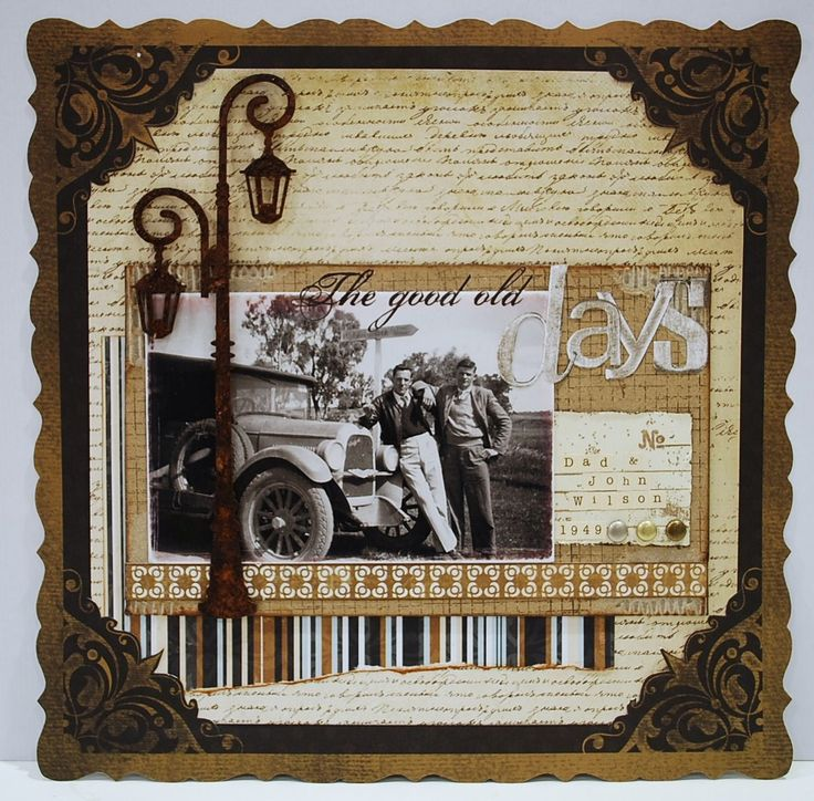 The Good Old Days scrapbook page....I would love to do a scrapbook in all black and white with an antique look and feel