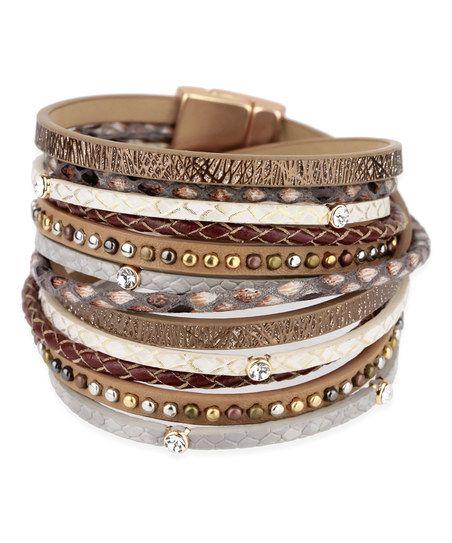 SAACHI Style Bronze Selena Leather Wrap Bracelet | zulily