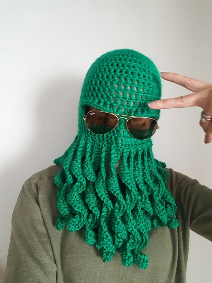 Octopus Costume Hat, Mens Halloween Costume, Cthulhu Mask, Knit Balaclava Hood, Stocking Stuffer for Men, College Student Gift, Best Selling