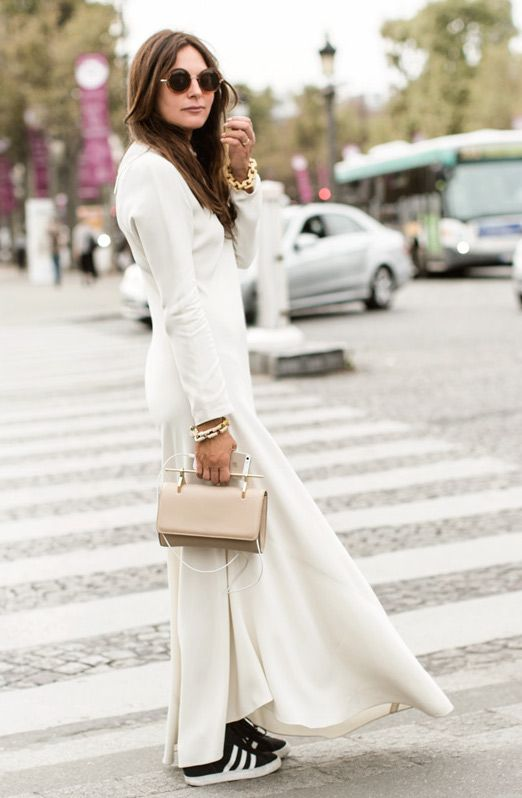 Fabulous Dress + Classic Sneakers, Adidas, Lisa Marie Fernandez, street style, Paris Fashion Week, Sandra Semburg / Garance Doré
