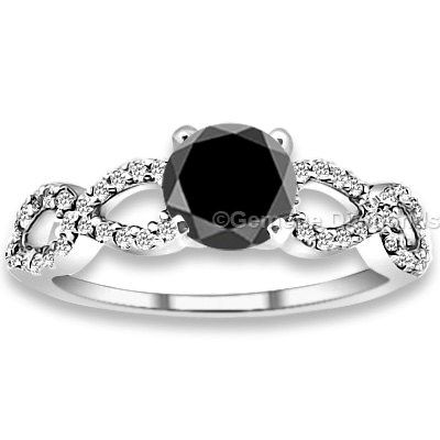 This Ring Center Stone in this Black Diamond Shank Engagement Rings is of 1.20 Carat in weight. Quality of the stone is AAA quality. The color of the Natural Black diamond is Jet Black color.