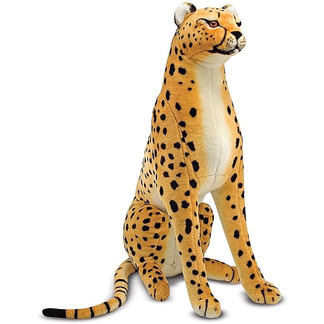 This tame plush cheetah measures over four feet from the tip of its nose to the tip of its tail.  This stuffed animal features an excellent-quality construction and attention to details, noticeable in the beautiful markings on its face.
