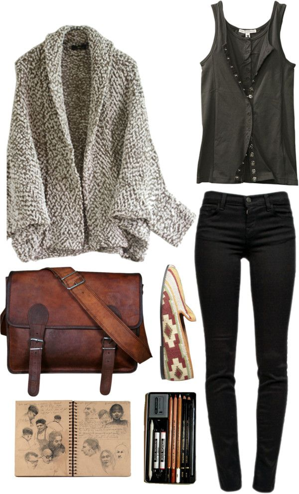 For fall/winter- black skinnies, black and slightly drapey shirt with an oversized chunky brown cardigan over.