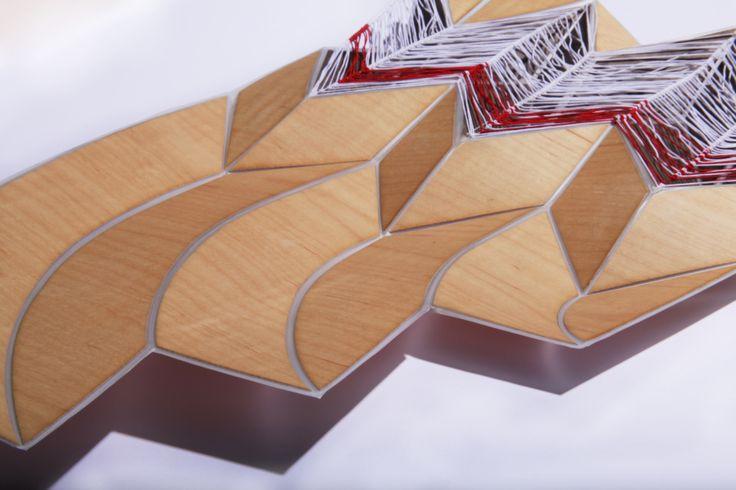 Folded wood veneer wall sculpture
