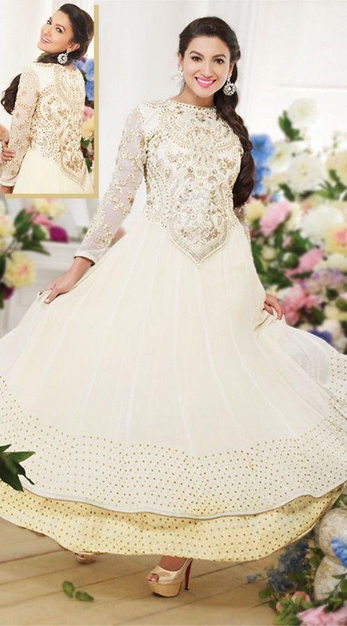 Gauhar Khan In White Anarkali Suit BR150849