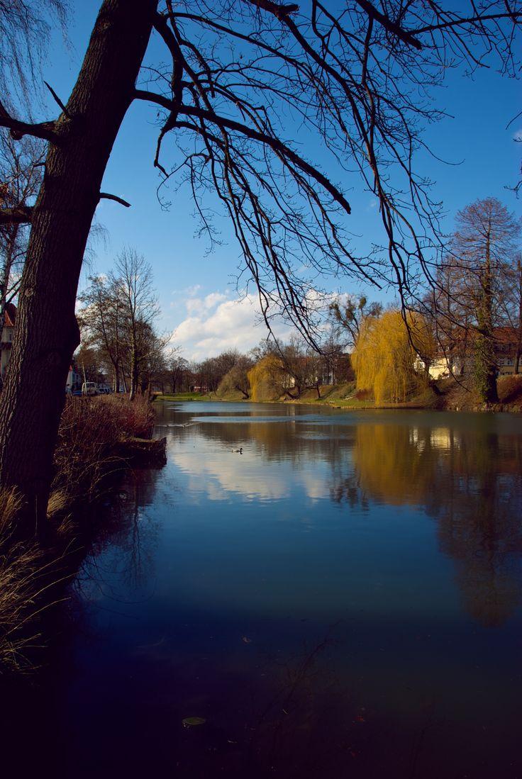 Beautiful river in Hidelsheim (Germany) April 2013.
