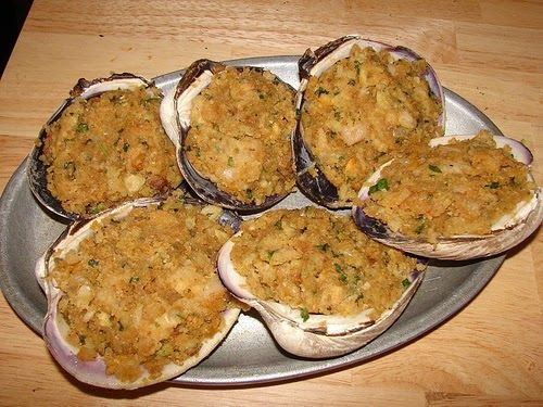 Stuffies!  Gorgeous, rich, delicious stuffed clams:   Made with huge quahogs (hard-shelled clams) these are a longtime Southern New England ...