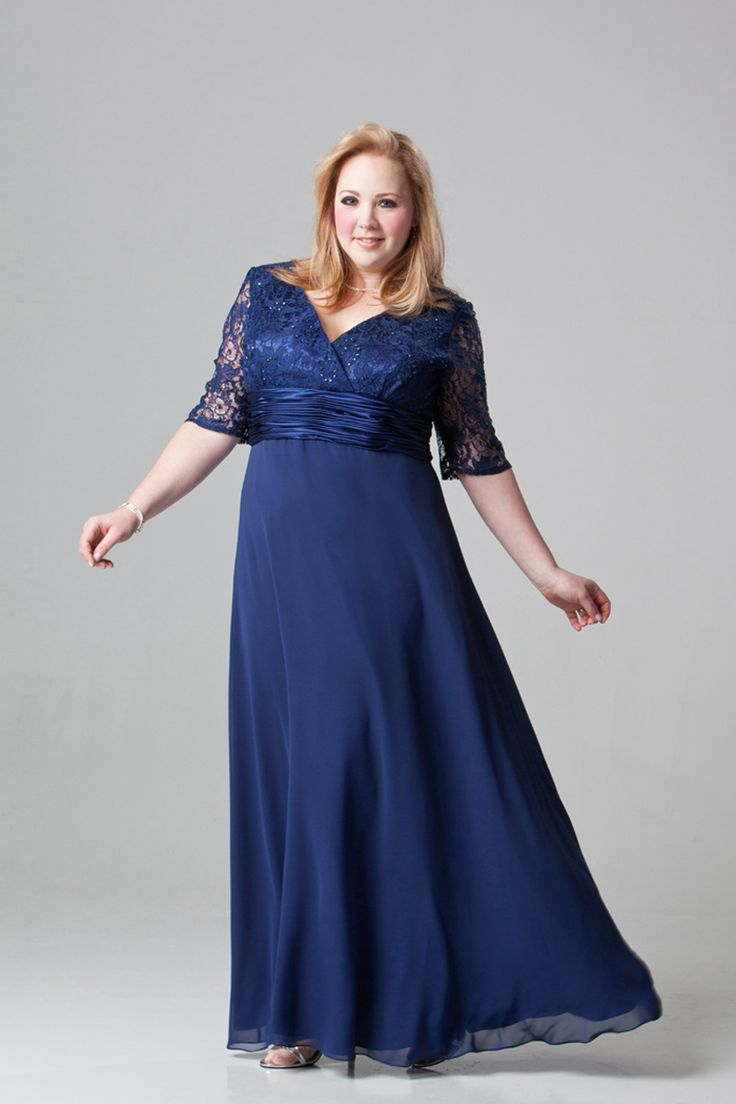 Plus Size Ankle-Length V-Neck Royal Blue Chiffon Dress