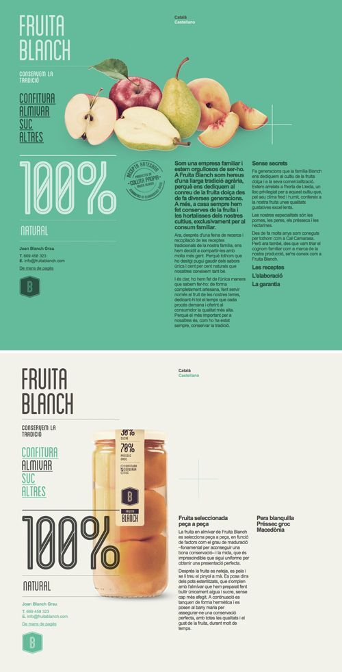 Beautiful site for Fruita Blanch by Atipus. If you're a user experience professional, listen to The UX Blog Podcast on iTunes.
