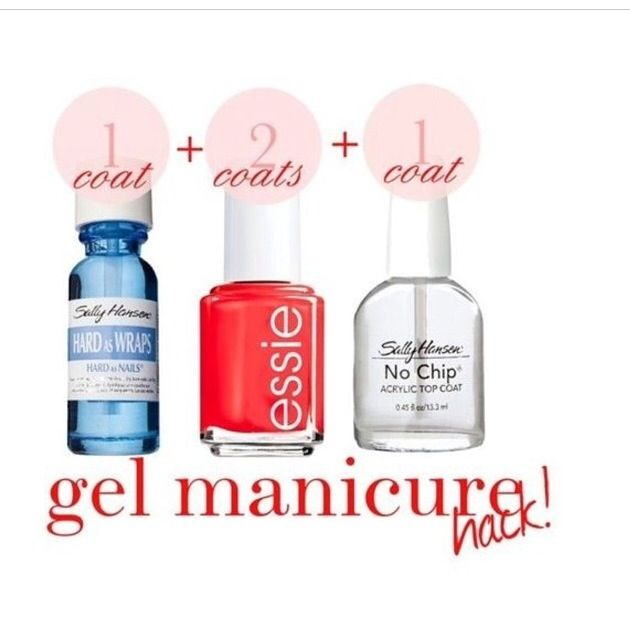 DIY Gel manicure 1. A coat Sally Henson Base or Nail Hardener 2. Essie nail color - 2 coats 3. 1 coat of Sally Henson Quick Dry (the red bottle)