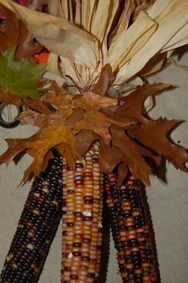 I Usually Just Tie My Indian Corn With String Or Raffia Leaves Decorating