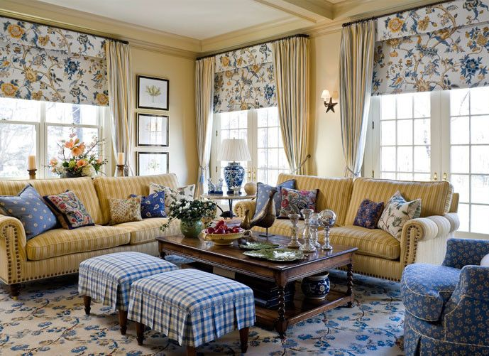 French Country combines distressed woods and soft fabrics, like cotton and linen, with dashes of gilded accents. popular patterns include toile, gingham, ticking stripes, and florals. Other must-have elements: ruffles, lace, nature-inspired accents.