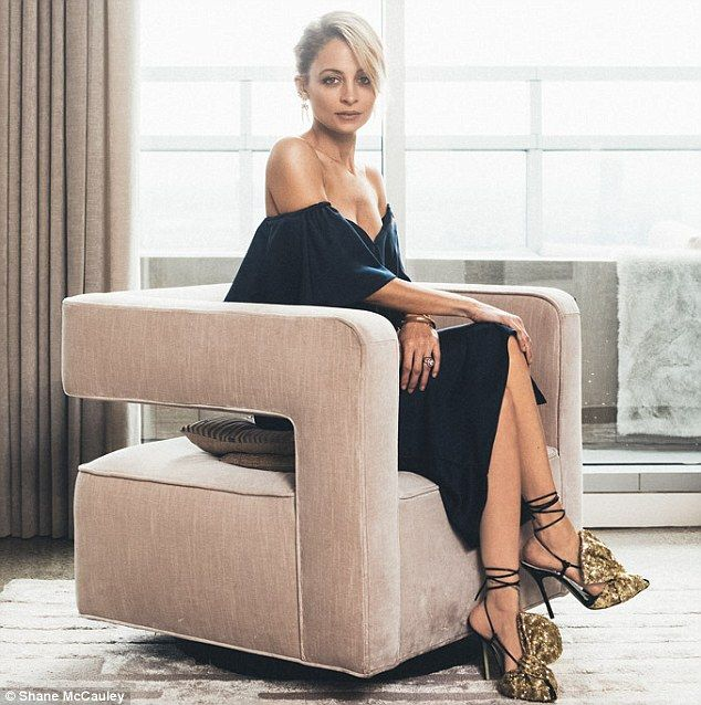 Sitting pretty: Nicole modeled for Footwear News wearing showstopping Giannico Sequin Bow Mules and a House of Harlow 1960 x Revolve dress