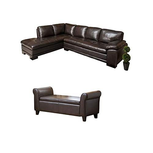 chocolate brown leather sectional sofa with 2 storage ottomans crumpet corner abbyson living set of faux and ottoman in dark