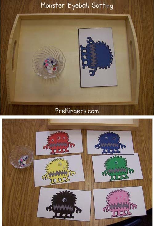Monster eyeball sorting. Print and cut out the sorting cards. Add a small bowl of colored wiggle eyes. Children will sort the colored eyes onto the matching colored monster.