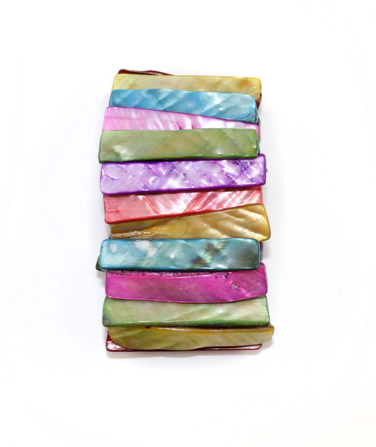 Multi Color Natural Sea Shell Stick Shape Bracelet http://nyfashionstar.com/handmade/jewelry/bracelet/multi-color-natural-sea-shell-stick-shape-bracelet.html