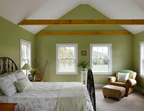 Bedroom in Benjamin Moore Georgian Green HC-115