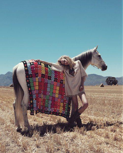 #boho, #horse with #crochet throw