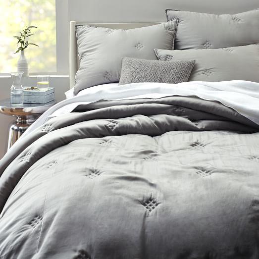 Washed Silk Quilt + Shams - Platinum | west elm ** I like the subtle added texture to make it more interesting