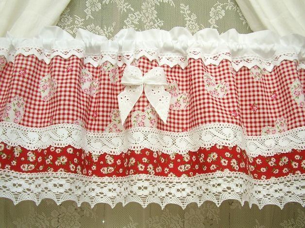 Gardinen - Landhausgardine Sommeralm romantik rot vintage 274 - ein Designerstück von bluebasar bei DaWanda