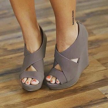 Gray wedges  #cute #style #fashion