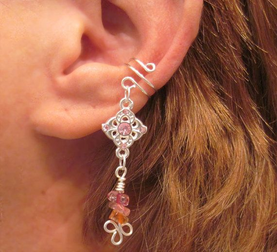 Cartilage Ear Cuff Pink Princess Pinks and by ArianrhodWolfchild