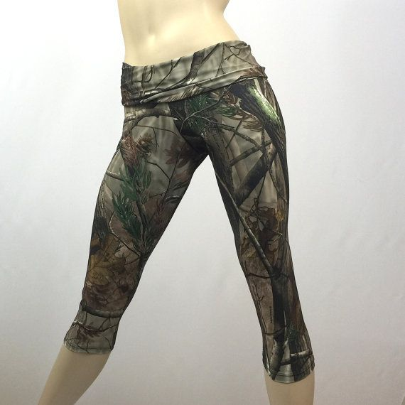 Camo Pants Camouflage Yoga Fitness Capri Fold Over Waistband/ High Waisted SXYfitness Sizes xxs-xxl (00-18) Item 1294 made in the USA