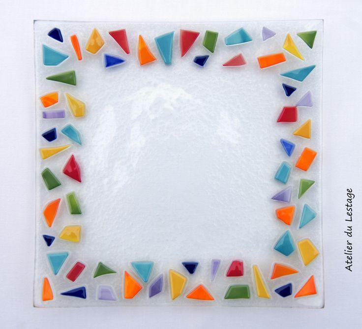 Assiette Décorative en Verre Fusionné Multicolor : Vaisselle, verres par atelier-du-lestage